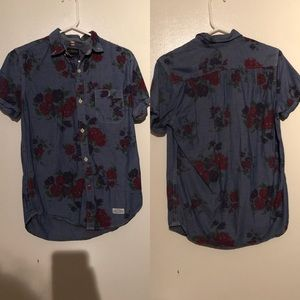 Tops - Denim Floral Buttondown